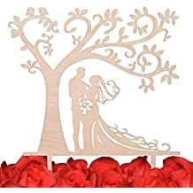 LOVENJOY with Gift Box Bride and Groom Silhouette Tree Wedding Cake Topper Rustic Wood (5.7-inch)