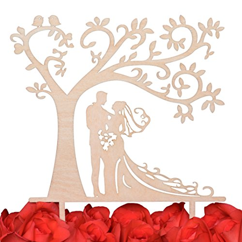LOVENJOY with Gift Box Bride and Groom Silhouette Tree Wedding Cake Topper Rustic Wood (5.7-inch) ()