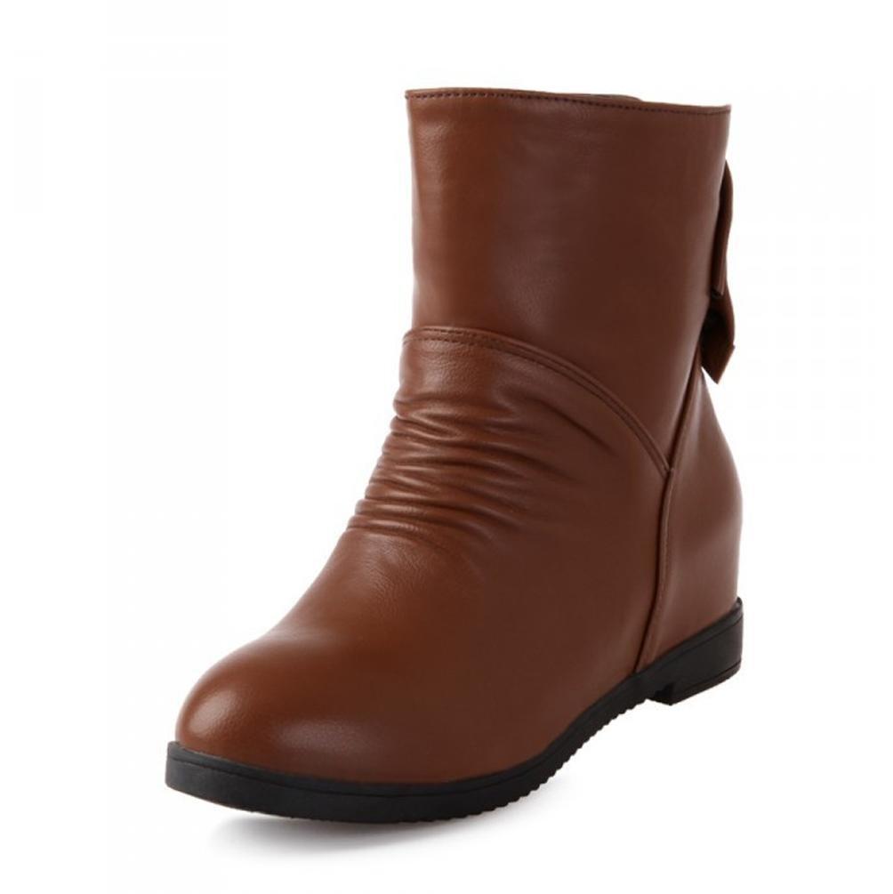 BOTXV Frauen Damen Mittlere Ferse Kurze Stiefel Keil Herbst und Winter Künstliche Kaschmir Große Größe 40-43 Schuhe Strass Bowknot