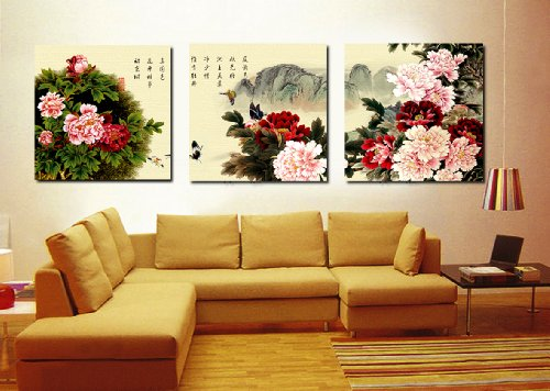(yozhohoo 3 Panels Modern Home Decorations Chinese Painting Triptych Canvas Wall Art Print Peony Flowers Framed Wall Decor Ready to Hang )