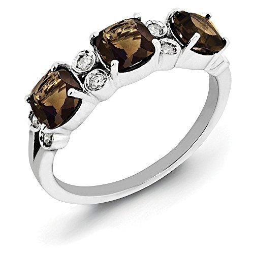 Cut Ring Cushion Diamond Bow (Cushion Smoky Quartz & 1/10 Ctw (H-I, I2-I3) Diamond Sterling Silver Ring Size 8)