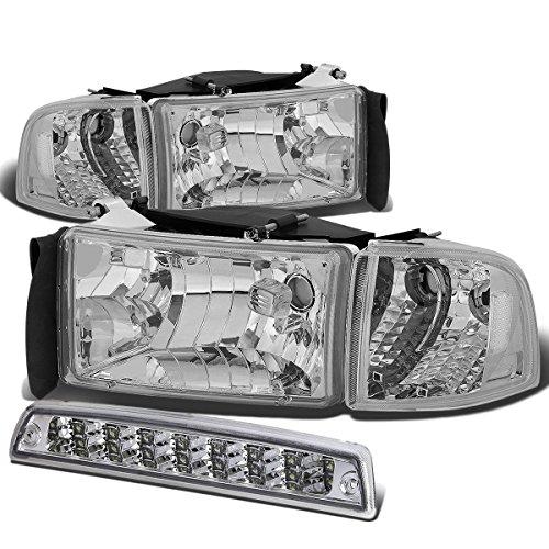 Dodge Ram BR/BE Pair of Chrome Housing Clear Corner Headlight+LED 3rd Brake Light