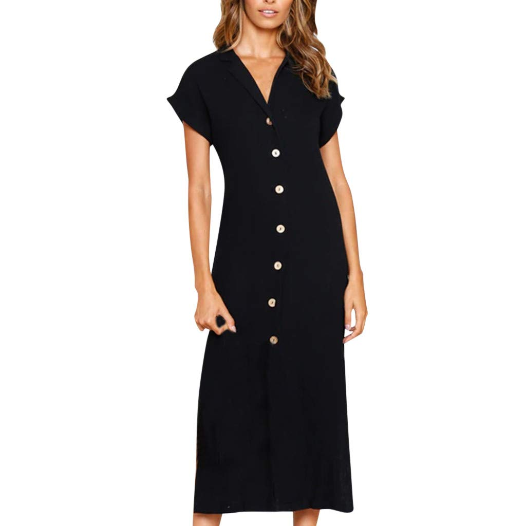 Women V Neck Solid Short Dress Sleeve Loose Party Mini Dress with Button and Belt Knee Length Black