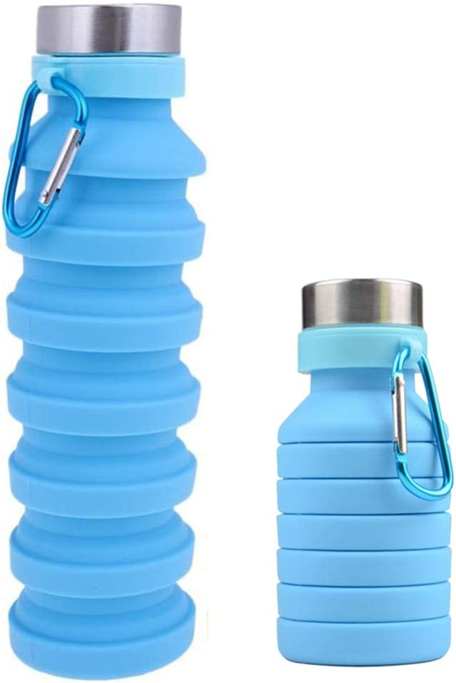 OSVAW Food-Grade Silicone Foldable Water Bottle BPA Free Collapsible water bottle for Travel Gym Camping Hiking Portable Sports water bottle 17oz