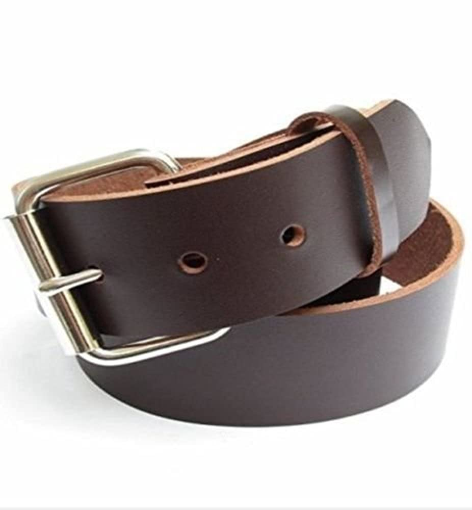 Mens Heavy Duty Dark Chocolate Brown Leather Belt 1 1//2 Wide