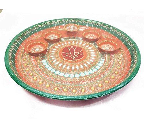 Prayer Plate Lords (DevDeep Hand Made Designe Puja Thali (Prayer plate) Set with Print of Lord ganesha.)
