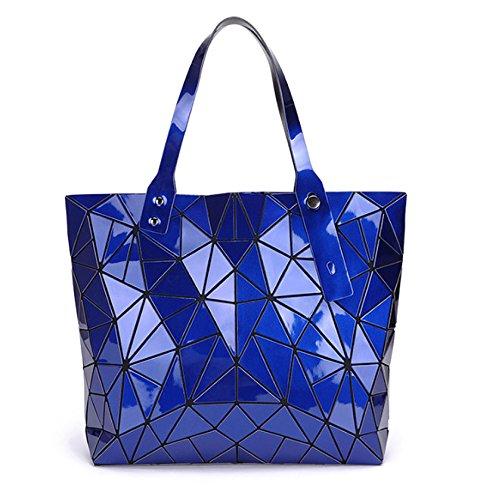 colore Haoyuxiang Pu Piegante Diamante Fashion Ladies Portatile Nero Geometria Pu Sacchetto Blu qqZ0wA6