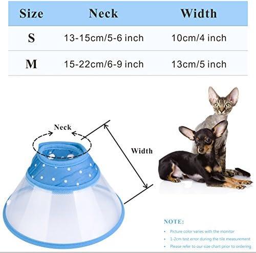 PETBABA Collare Elisabettiano Gatto Collari Trasparente Non Bloccare Visione Protettivi Coni per Gattino Cuccioli Cane Blu