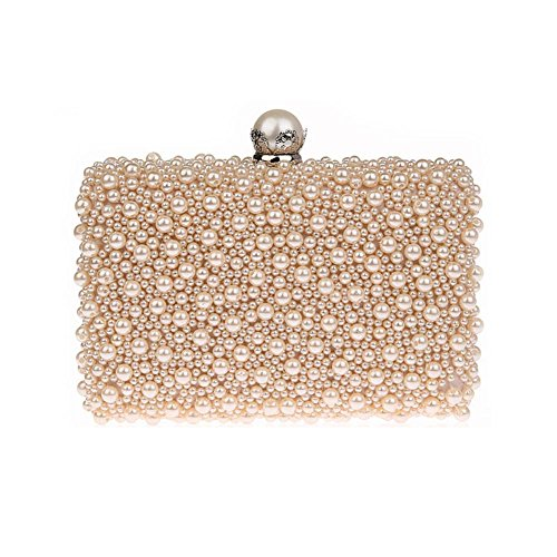 (ZAKIA Womens Faux Pearl Beaded Evening Clutch Bag Bridal Wedding Handbag Party Embedded Frame Purse (Champagne) )