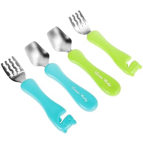 Lictin 5 piezas Juego de tenedores y cucharas para bebés PP de calidad alimentaria y acero inoxidable Vajilla azul claro and verde limón para bebé con ...