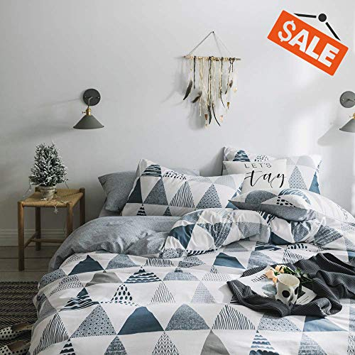 VClife Cotton Bedding Sets Twin Children Duvet Cover Sets Reversible Gray Triangle Geometric Print Bedding Collections for Boy Girl - Zipper Closure & 4 Corner Ties, Hypoallergenic, Soft, Luxury