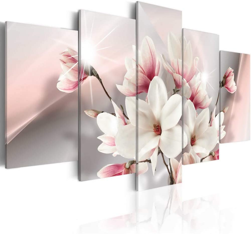 Melpa Art Magnolia in Bloom Modern Flower Canvas Pictures for Wall White Floral Painting 5 Panels Home Decor Framed Artwork for Living Room