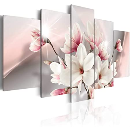 Melpa Art Magnolia in Bloom White Flower Artwork Painting Canvas Pictures for Wall Modern Floral 5 Panels Home Decor Framed for Living Room