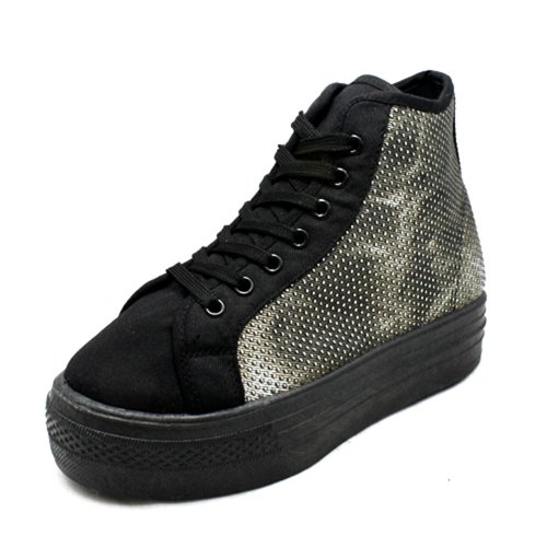 sendit4me Flatform Schnüren Sich oben Hi-Top Pumpen/Schuhe Black