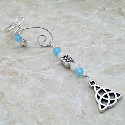 Celtic Knot Triquetra Ear Cuff Blue Opal, 2 in 1 Dangle Ear Cuff No Piercing