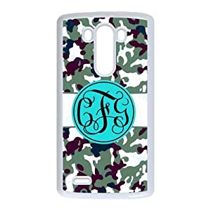 Bhite Striped Blue Monogram in The Army Camouflage Background Design Fashion Custom Luxury Cover Case With Plastic For LG G3