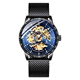 Bestn Skeleton Wristwatches for Men self-Winding Allochroic Luminous Mechanical Watch