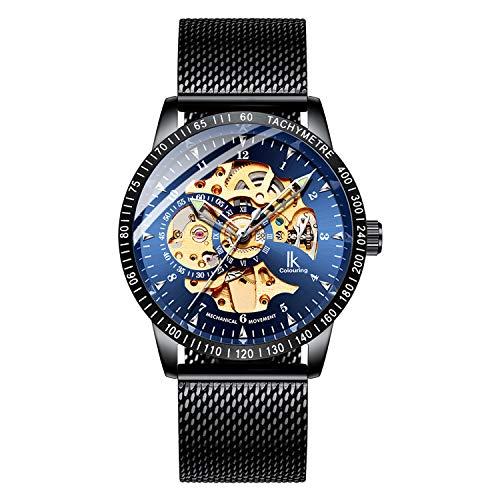 Black Self Winding Wrist Watch - BesTn Wristwatches for Men self-Winding Allochroic Luminous Hands Skeleton Mechanical Black Watch