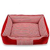 Zcx Medium and Large Dogs General Kennel Stripes Four Seasons Universal Removable Wash Mat Combination Pet Nest (Color : Red, Size : S50x40x13cm)