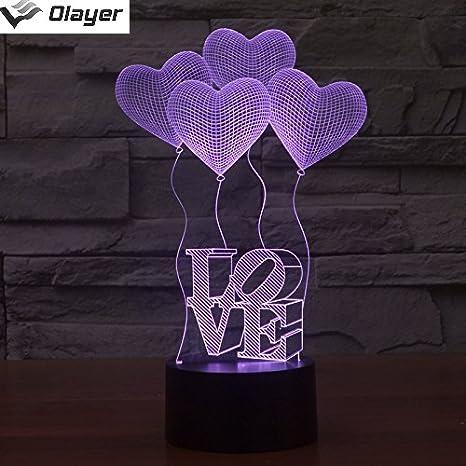 Olayer - Lámpara LED para mesa de noche, diseño en 3D con ...
