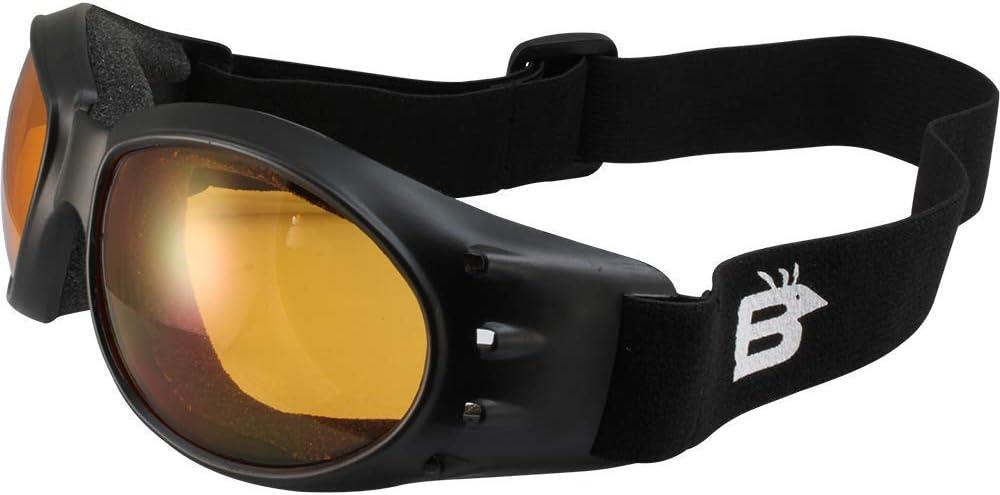 Birdz Eagle Matte Black Padded Sport Riding Goggle with Orange Lens