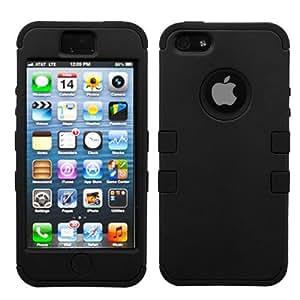 MYBAT Rubberized Black/Black TUFF Hybrid Phone Protector Cover for APPLE iPhone 5