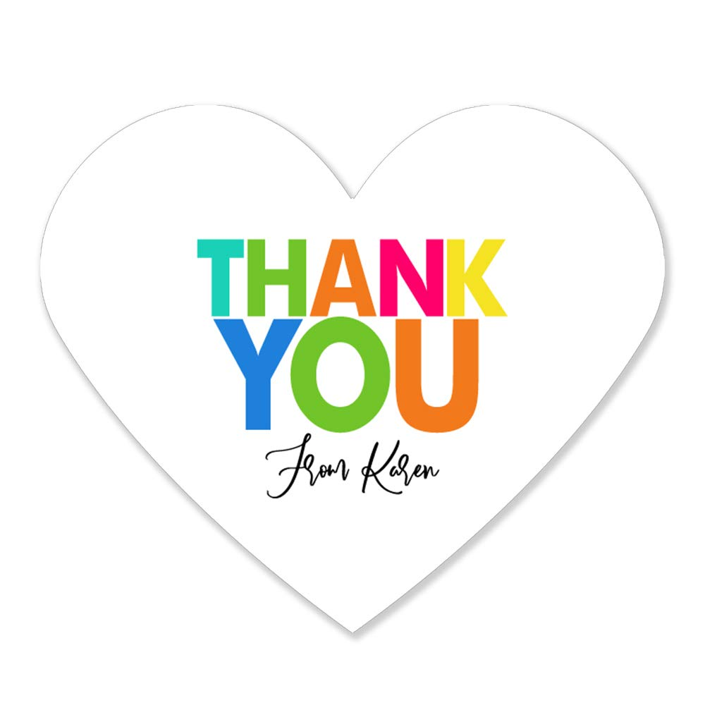 Colorful Thank You Heart Glossy Stickers