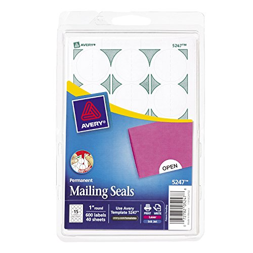 Avery Mailing Seals for Laser and Inkjet Printers, 1 inch Round, White, Pack of 600 - Mailing Seals
