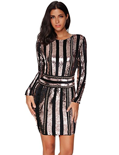 Meilun Sequins with Belt Gold Bodycon Dress Party Bandage Dress (Gold, M)