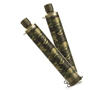 Membrane Solutions Straw Water Filter Survival Filtration Portable Gear Emergency Preparedness Supply for Drinking Hiking Camping Travel Hunting Fishing Double Outing