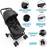 Upgraded Portable Lightweight Travel Stroller - Easy 1 Hand Foldable Compact Stroller, Adjustable Reclining Seat, Worlds Smallest Stroller to Fit in Small Cars Between the Seats By Jovial (Black)