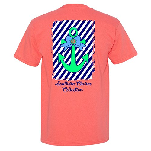 Tennessee Striped Shirt - Anchor on Striped Background Southern Charm Collection on a Light Pink Short Sleeve T Shirt - Small