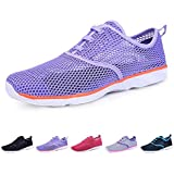 BOKEN Women's Quick Drying Aqua Water Shoes Lightweight Sneakers?Purple&Pink&White-39