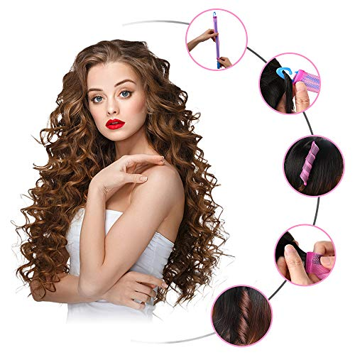 JRing Silicone Hair Curlers with Styling Hook Magic Hair Rollers, 18 No Heat Hair Curlers Spiral Curls Styling Kit for Men/Women All Kinds of Hairstyles (20+30CM)