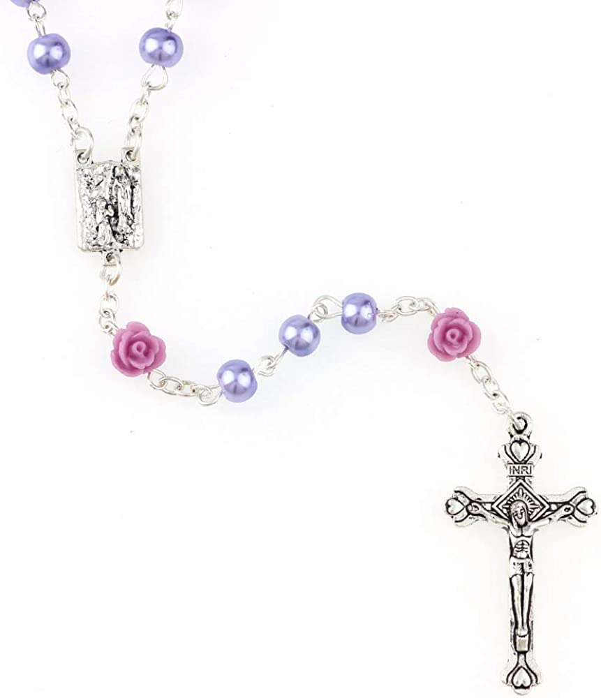 Rosary Beads Catholic Confirmation Gifts for Teenage Girl Artificial Pearls and Polymer Clay Rose Necklace Jewelry Rosary Necklace Silver Alloy Cross Necklace for Women YWLI