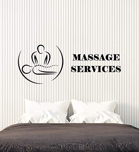 Vinyl Wall Decal Massage Service Relax Procedure Spa Center Health Stickers Mural ()