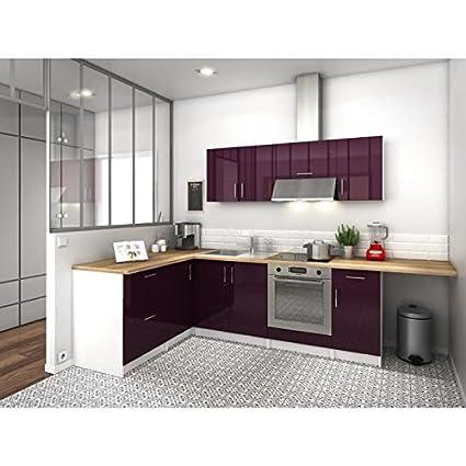 City - Cucina ad angolo completa, 2,80 m - Color melanzana, laccata ...