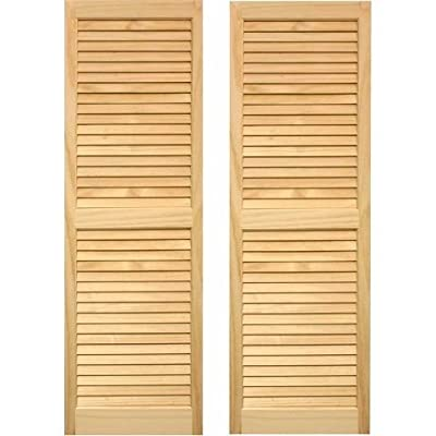 Pinecroft 15W in. Louvered Wood Shutters