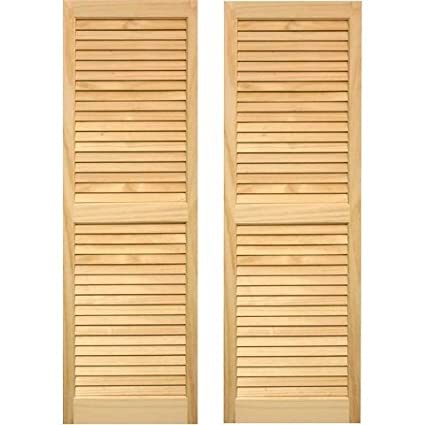 Amazoncom Pinecroft 15w In Louvered Wood Shutters Home Kitchen