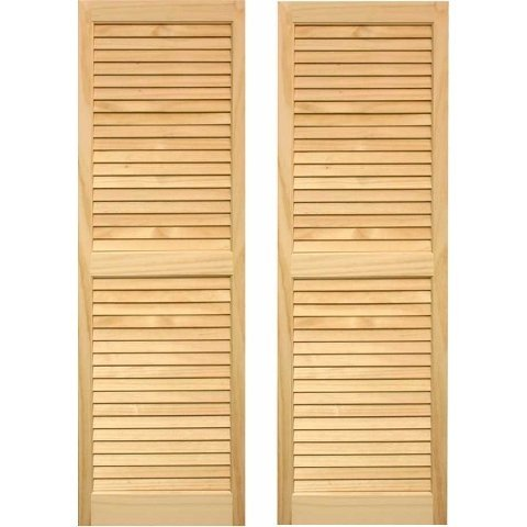 "SHL59 Exterior Solid Wood Louvered Window Shutters 15"" x 59"" Unfinished Pine"