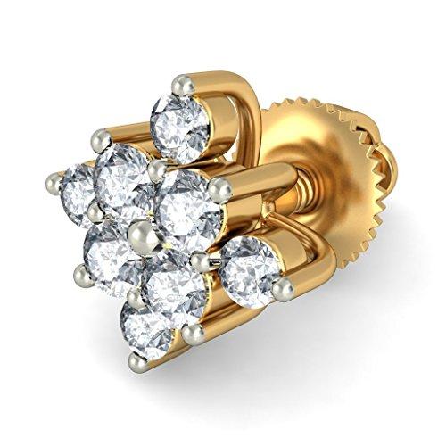 18K Or jaune 0,28CT TW White-diamond (IJ | SI) Boucles d'oreille à tige