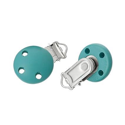 Newin Star Chupetes de Clip de madera,Teether Clip natural seguro sin BPA Universal Clips Adorable para bebé(verder)