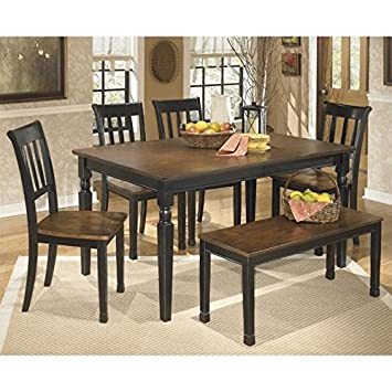 Brilliant Amazon Com Ashley Owingsville 6 Piece Dining Set With Bench Squirreltailoven Fun Painted Chair Ideas Images Squirreltailovenorg