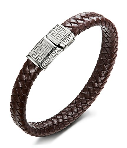 FIBO STEEL Stainless Steel Magnetic Clasp Braided Leather Bracelet for Men Cuff Bracelet 8.5 inches Brown