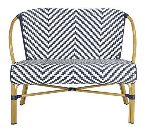 Safavieh PAT4016A Outdoor Collection Dandra Navy and White Herringbone Rattan Settee