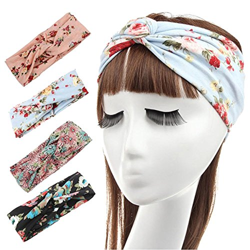 Ever Fairy 4 Pack Women's Elastic Flower Printed Turban Headwrap Knotted Soft Twisted Headband