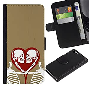 Be-Star la tarjeta de Crédito Slots PU Funda de cuero Monedero caso cubierta de piel Para Apple Iphone 5 / 5S ( Heart Love Skeleton Gold Red White )