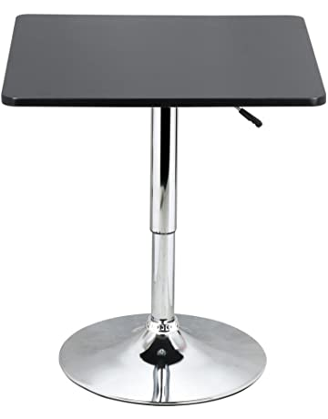 Yaheetech Adjustable Bar Pub Table Black MDF Top with Silver Leg Base 60    60cm Dimension 264114cad3
