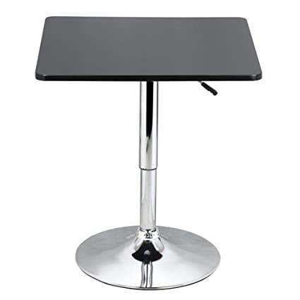 Yaheetech Adjustable High Bar Table Pub Table Square Black MDF Top With  Silver Leg Base 27.6