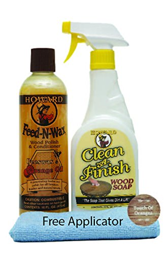 (Howard Feed N Wax Wood Restorer and Beeswax Polish Plus Clean A Finish Wood Soap, Furniture Wax, Cabinets, Floors, Antiques, Teak Tables)